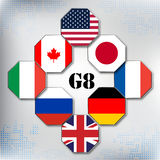 Flags of The Group of Eight Octagon shape Royalty Free Stock Photography