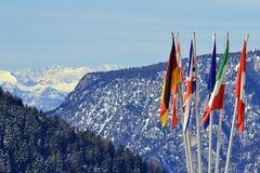 Flags. A group of flags in Italian mountain Royalty Free Stock Photography