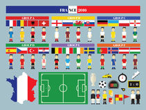 Flags and groups. European football championship Royalty Free Stock Photography