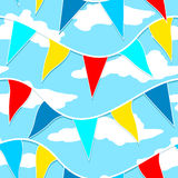 Flags hanging on a rope seamless pattern Royalty Free Stock Photography