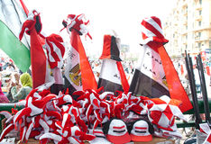 Flags & Hats sold In Tahrir Square Royalty Free Stock Photography