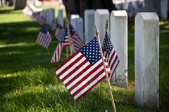 Flags and Headstones Royalty Free Stock Photography