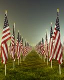 Flags in the Healing Fields for 9/11. Flags set in a row as part of the healing fields for 9/11/2011 in Grand Rapids Michigan. Each flag was designed to stock photo