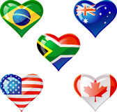 """Flags heart. Extra glossy vector """"Flags heart"""" are good for: icon, button, design, decoration, or as a symbol Royalty Free Stock Images"""