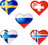 """Flags heart. Extra glossy vector """"Flags heart"""", are good for: icon, button, design, decoration, or as a symbol Royalty Free Stock Photo"""
