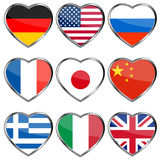 Flags in hearts vector illustration