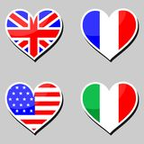 Flags and hearts Stock Images
