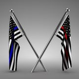 Flags honoring Police and Firefighters. 3d render Stock Images