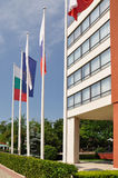 Flags of the hotel. Flags of the European Union, Russia, Bulgaria in front of the hotel royalty free stock photos