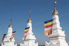 Flags on Hsinbyume Pagoda Stock Photo