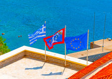 The 3 Flags, Hydra island Royalty Free Stock Image