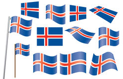 Flags of Iceland Royalty Free Stock Photos