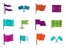 Flags icon set, color outline style. Flags icon set. Color outline set of flags vector icons for web design isolated on white background Royalty Free Stock Image