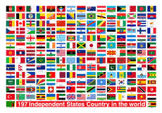 197 Flags Independent States Country in the world. Flags of Independent Countries in the World Stock Image