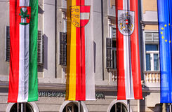 Flags infront of building. Flags infront of a city hall (hdr Stock Image
