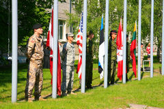 Flags. International military exercises in Latvia Stock Images