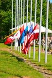 Flags. International military exercises in Latvia Stock Photos
