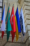 Flags. International set of flags on Hofburg palace (OSCE headquarter), Vienna, Austria Stock Photos