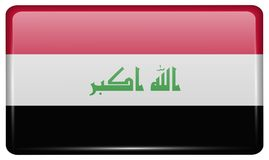 Flags Iraq in the form of a magnet on refrigerator with reflections light. vector illustration