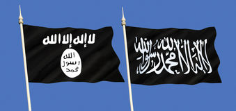 Flags of Islamic State - ISIS or ISIL and Al-Qaeda Royalty Free Stock Photos