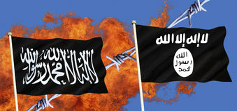 Flags of Islamic State - ISIS - ISIL - Al-Qaeda Stock Image