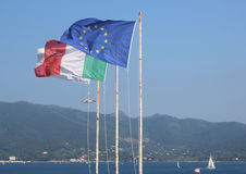 Flags on the island of Elba Stock Images