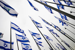 Flags of Israel. In a pro-Israel demonstration Stock Images