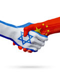 Flags Israel, China countries, partnership friendship handshake concept. Stock Photography