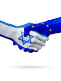 Flags Israel, European Union countries, partnership friendship handshake concept. Royalty Free Stock Images