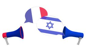 Flags of Israel and France on speech balloons from megaphones. Intercultural dialogue or international talks related 3D. Speech bubbles with flags. Intercultural stock illustration