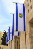 Flags of Israel and Jerusalem Royalty Free Stock Photography