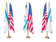 Flags of Israel and the United State Stock Photography