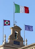 Flags of Italian State on the Quirinal Hill, where houses the Pr Stock Images