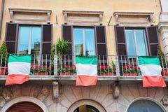 flags italienska fönster Royaltyfri Fotografi