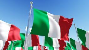 Flags of Italy against blue sky. Stock Photos