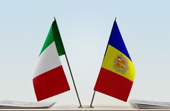 Flags of Italy and Andorra. Two table flags of Italy and Andorra stock illustration