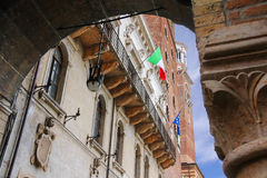 The flags of Italy and Europe in the facade of building Royalty Free Stock Images