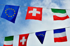 Flags of Italy, France, Switzerland and European Union Stock Image