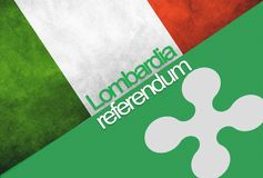 Flags of Italy and Lombardia. On background with text: LOMBARDIA REFERENDUM Stock Images