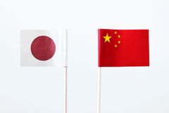 Flags of japan and china Stock Photography