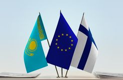 Flags of Kazakhstan European Union and Finland. Desktop flags of Kazakhstan European Union and Finland Royalty Free Stock Photos