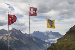Flags on the Klausen Pass Stock Photo