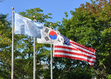Flags of the Korean war Royalty Free Stock Images