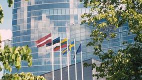 Flags of Latvia, Estonia, Lithuania, Sweden, European Union waving on the wind. stock video