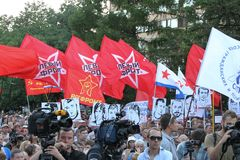 Flags of the Left front on meeting in support of political prisoners Stock Photo