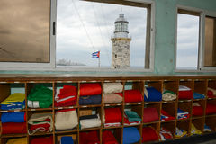 Flags at the lighthouse of El Morro castle at Havana. On Cuba Royalty Free Stock Photos