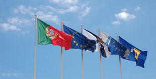 Flags in Lisbon Stock Photography