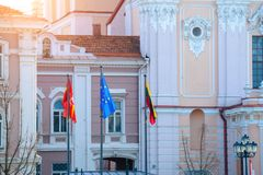 Flags of Lithuania and European Community Stock Images