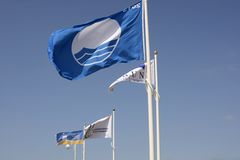 Flags on Littlehampton Beach. Sussex. England Stock Photography