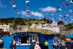 Flags on Llandudno pier Royalty Free Stock Image